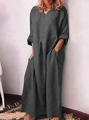 cheap Maxi Dresses-Women's A-Line Dress Maxi long Dress - 3/4 Length Sleeve Solid Color Summer Casual 2020 Wine Green Gray S M L XL XXL XXXL XXXXL XXXXXL