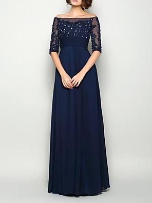 cheap Evening Dresses-Sheath / Column Mother of the Bride Dress Elegant Illusion Neck Off Shoulder Floor Length Chiffon Half Sleeve with Pleats Beading 2020