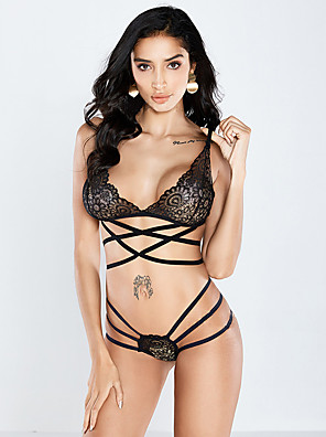 cheap Sexy Bodies-Women's Wireless Strapped Padless Demi-cup Bras & Panties Sets Solid Colored Super Sexy Lace Daily Wear Going out Black