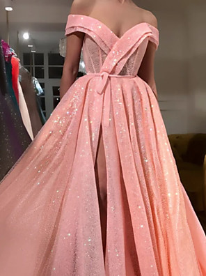 cheap Evening Dresses-A-Line Luxurious Sparkle Engagement Formal Evening Dress V Neck Sleeveless Sweep / Brush Train Lace with Sash / Ribbon Split 2020