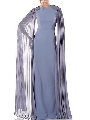 cheap Evening Dresses-Sheath / Column Mother of the Bride Dress Elegant Jewel Neck Floor Length Chiffon Long Sleeve with Pleats 2020