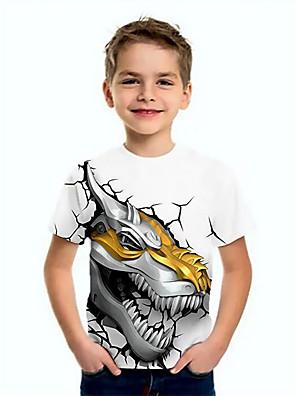 cheap Boys' Tops-Kids Boys' Basic Dinosaur Animal Print Short Sleeve Tee White