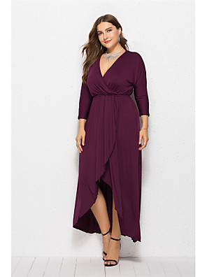 cheap Plus Size Dresses-Women's Swing Dress Maxi long Dress - Long Sleeve Solid Color Summer Elegant Sexy 2020 Wine Black Purple Red Army Green Green Royal Blue Navy Blue XL XXL XXXL XXXXL