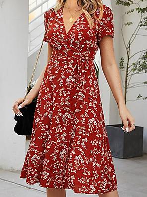 preiswerte Für Junge Frauen-Damen Swing Kleid Minikleid - Kurze Ärmel Druck Sommer Sexy 2020 Rote S M L XL