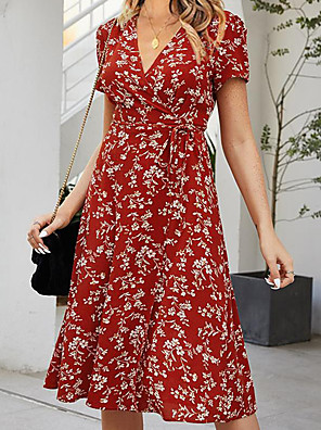 cheap Print Dresses-Women's Swing Dress Short Mini Dress - Short Sleeves Print Summer Sexy 2020 Red S M L XL
