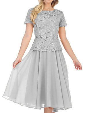 cheap Prom Dresses-A-Line Mother of the Bride Dress Elegant Jewel Neck Tea Length Chiffon Lace Short Sleeve with Sequin 2020