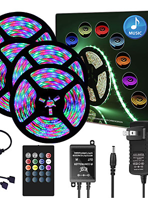 cheap Boys' Tops-65ft  4x 5 Meter Music Synchronous Happy Multicolour Light Strip 2835 RGB LED Flexible Light Strip with 20 key IR Controller Optional with Adapter Kit DC12V