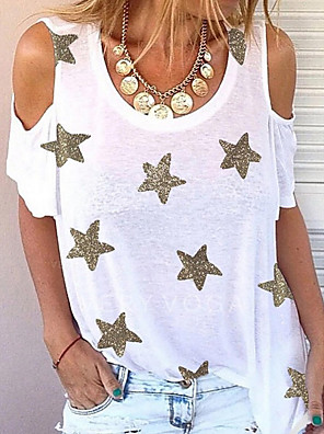 cheap Women's Blouses & Shirts-Women's T-shirt Graphic Round Neck Tops Loose White