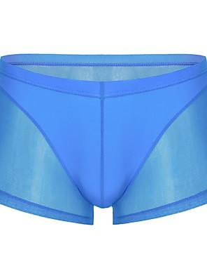 baratos Moda Íntima Exótica para Homens-Homens Básico Cueca Boxer / Cuecas - Normal Cintura Baixa Branco Preto Azul S M L