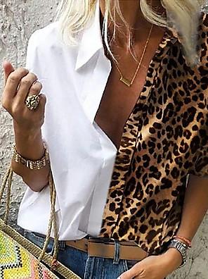cheap Women's Blouses & Shirts-Women's Plus Size Shirt Leopard Loose Tops Shirt Collar Light Brown White Blue / Long Sleeve