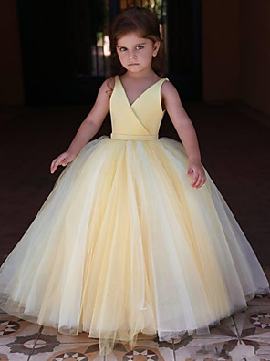 cheap Christening Gowns-Princess / Ball Gown Floor Length Wedding / Party Flower Girl Dresses - Satin / Tulle Sleeveless V Neck with Pleats / Solid