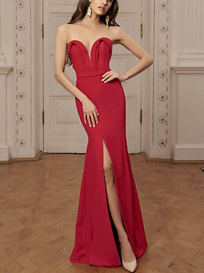 cheap Prom Dresses-Mermaid / Trumpet Beautiful Back Sexy Wedding Guest Prom Dress Illusion Neck Sleeveless Floor Length Jersey with Split 2020