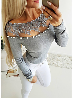 cheap Women's Blouses & Shirts-Women's Blouse Solid Colored Plain Long Sleeve Off Shoulder Tops Basic Top Gray