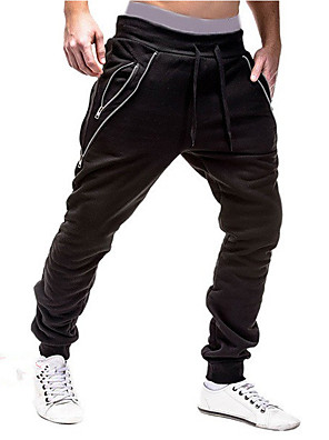 cheap Men's Pants & Shorts-Men's Sporty Basic Daily Slim Sweatpants Pants - Solid Colored Black White, Drawstring Sports Spring Winter Black Light gray Dark Gray US36 / UK36 / EU44 / US38 / UK38 / EU46 / US40 / UK40 / EU48