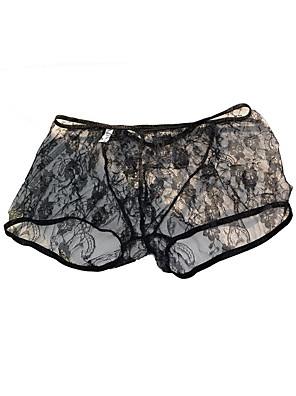 cheap Men's Exotic Underwear-Men's Print Boxers Underwear - Normal Low Waist Black Red One-Size