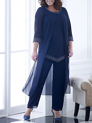 cheap Mother of the Bride Dresses-Pantsuit / Jumpsuit Mother of the Bride Dress Elegant Jewel Neck Floor Length Chiffon 3/4 Length Sleeve with Beading 2020