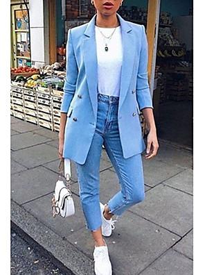 billige Blazere-Dame Hakrevers Blazer Normal Ensfarvet Afslappet Daglig Plusstørrelser Hvid / Sort / Blå S / M / L