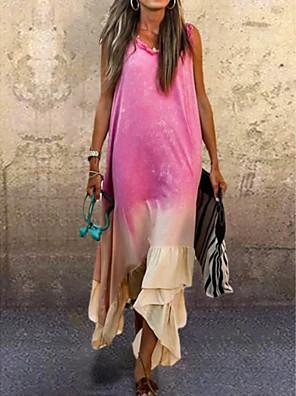 cheap Summer Dresses-Women's A-Line Dress Midi Dress - Sleeveless Tie Dye Summer Casual 2020 Purple Fuchsia Light Green Light Blue S M L XL XXL XXXL