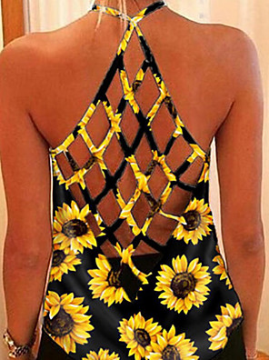cheap Women's Blouses & Shirts-Women's Camisole Floral Halter Neck Tops Loose Summer White Black Yellow