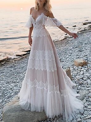 cheap Evening Dresses-A-Line Wedding Dresses V Neck Spaghetti Strap Sweep / Brush Train Lace Tulle Half Sleeve Beach Sexy Plus Size with Lace Pleats 2020