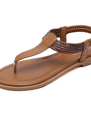 cheap Women's T-shirts-Women's Sandals Summer Flat Heel Open Toe Daily PU Black / Brown / Beige