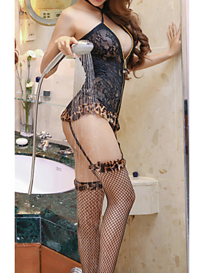 cheap Suits-Women's Lace Backless Cut Out Suits Nightwear Leopard Jacquard Solid Colored Black One-Size