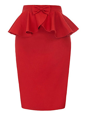 cheap Wedding Dresses-Women's Basic Bodycon Skirts - Solid Colored Black Red S M L