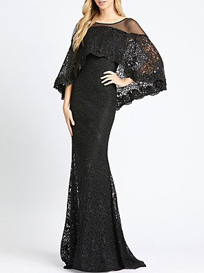 cheap Evening Dresses-Mermaid / Trumpet Elegant Beautiful Back Engagement Formal Evening Dress Illusion Neck Long Sleeve Sweep / Brush Train Lace with Lace Insert 2020