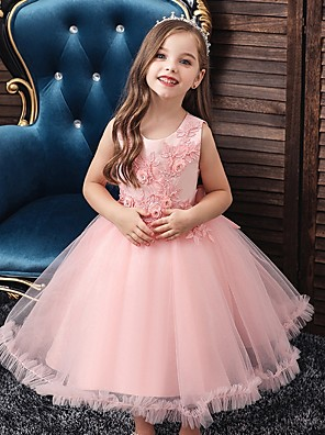 cheap Flower Girl Dresses-Princess / Ball Gown Knee Length Wedding / Party Flower Girl Dresses - Tulle Sleeveless Jewel Neck with Bow(s) / Beading / Appliques