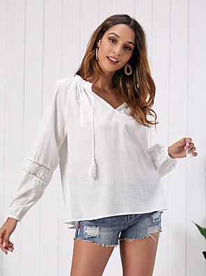 cheap Women's Blouses & Shirts-Women's Blouse Solid Colored Mesh Tassel V Neck Tops Lantern Sleeve Cotton Basic Elegant Fall Winter White / Going out