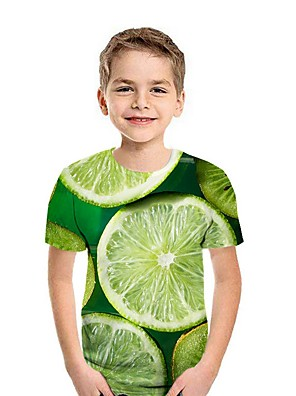 cheap Boys' Tops-Kids Boys' Street chic Fruit Short Sleeve Tee Black