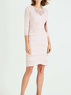 cheap Mother of the Bride Dresses-Two Piece Sheath / Column Mother of the Bride Dress Plus Size Jewel Neck Knee Length Chiffon Lace 3/4 Length Sleeve with Tier 2020 Mother of the groom dresses