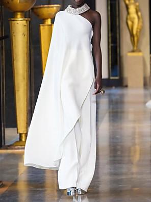 cheap Prom Dresses-Sheath / Column Elegant Minimalist Party Wear Formal Evening Dress One Shoulder Sleeveless Floor Length Chiffon with Sleek 2020