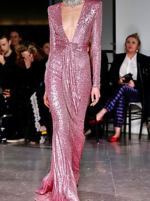 cheap Evening Dresses-Sheath / Column Sexy Sparkle Engagement Formal Evening Dress V Neck Long Sleeve Sweep / Brush Train Sequined with Sash / Ribbon 2020
