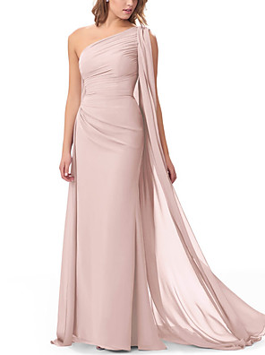 cheap Bridesmaid Dresses-Sheath / Column One Shoulder Floor Length Chiffon Bridesmaid Dress with Ruffles