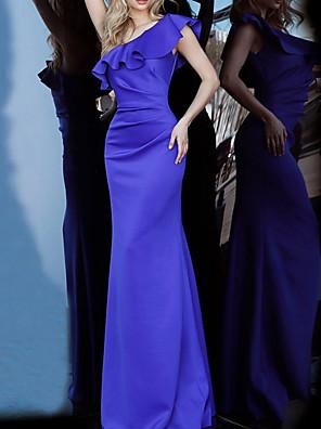 cheap Evening Dresses-Mermaid / Trumpet Elegant Reformation Amante Engagement Formal Evening Dress One Shoulder Sleeveless Floor Length Satin with Sleek 2020