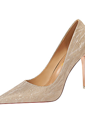 cheap Maxi Dresses-Women's Heels Fall / Winter Pumps Pointed Toe Sexy Party & Evening Sequin Solid Colored PU Champagne / Silver