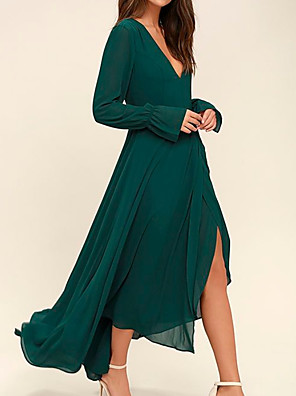 cheap Prom Dresses-A-Line Mother of the Bride Dress Elegant V Neck Asymmetrical Chiffon Long Sleeve with Pleats Split Front 2020