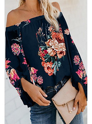 cheap Women's Blouses & Shirts-Women's Blouse Floral Off Shoulder Tops Summer White Khaki Navy Blue