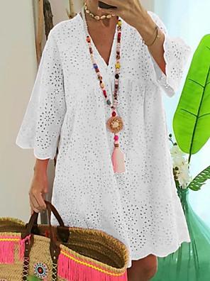 cheap Print Dresses-Women's A-Line Dress Knee Length Dress - 3/4 Length Sleeve Solid Color Summer V Neck Casual Loose 2020 White Fuchsia Navy Blue Light Blue S M L XL XXL XXXL