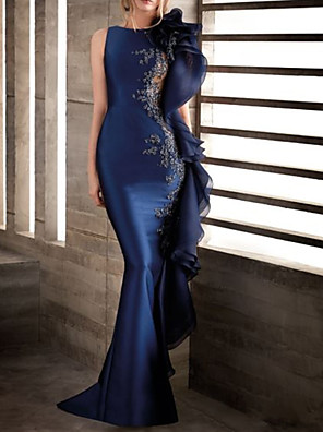 cheap Evening Dresses-Mermaid / Trumpet Elegant Beautiful Back Engagement Formal Evening Dress Jewel Neck Sleeveless Sweep / Brush Train Stretch Satin with Appliques 2020
