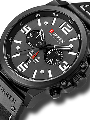 cheap Smart Watches-CURREN Men's Sport Watch Military Watch Quartz Luxury Water Resistant / Waterproof PU Leather Black / Red / Brown Analog - Black Blue Red / Altimeter / Calendar / date / day / Chronograph