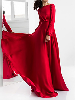 cheap Evening Dresses-A-Line Elegant Beautiful Back Engagement Formal Evening Dress Jewel Neck Long Sleeve Sweep / Brush Train Satin with Pleats 2020