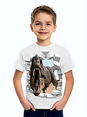 cheap Boys' Tops-Kids Boys' Basic Dinosaur Animal Print Short Sleeve Tee White