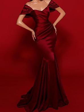cheap Prom Dresses-Mermaid / Trumpet Elegant Vintage Engagement Formal Evening Dress Scoop Neck Short Sleeve Sweep / Brush Train Satin with Sleek 2020