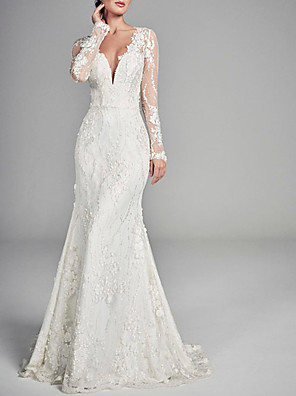cheap Evening Dresses-A-Line Wedding Dresses V Neck Sweep / Brush Train Lace Tulle Long Sleeve Formal Sexy Backless Illusion Sleeve with Embroidery 2020