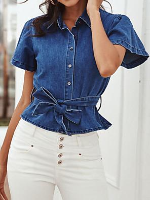 cheap Women's Blouses & Shirts-Women's Denim Shirt Solid Colored Shirt Collar Tops Blue