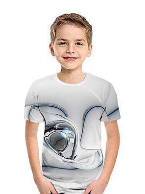 cheap Boys' Tops-Kids Boys' Street chic 3D Short Sleeve Tee White