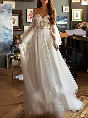 cheap Wedding Dresses-A-Line Wedding Dresses Jewel Neck Sweep / Brush Train Chiffon Lace Tulle Long Sleeve Beach Sexy Illusion Sleeve with Embroidery 2020