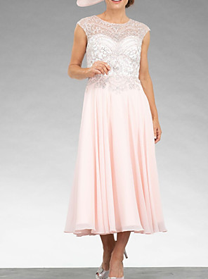 cheap Mother of the Bride Dresses-A-Line Mother of the Bride Dress Elegant Jewel Neck Ankle Length Chiffon Lace Sleeveless with Pleats Beading 2020
